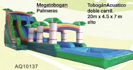 ALQUILER MEGATOBOGAN PALMERAS DOBLE CARRIL 20m largo