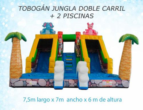 Tobogán Jungla doble carril + 2 piscinas